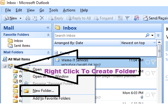 right click to create folder in ms outlook